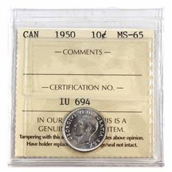 10-cent 1950 ICCS Certified MS-65