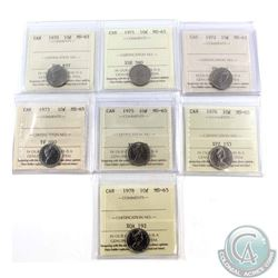 10-cent 1970, 1971, 1972, 1973, 1975, 1976 & 1978 ICCS Certified MS-65. 7pcs