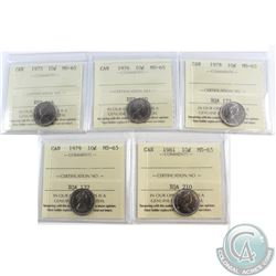 10-cent 1973, 1976, 1978, 1979, 1981 ICCS Certified MS-65. 5pcs.