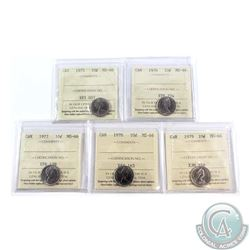 10-cent 1975, 1976, 1977, 1978 & 1979 ICCS Certified MS-66. 5pcs
