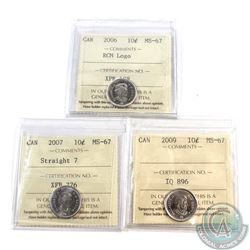10-cent 2006 RCM Logo, 2007 Straight 7 & 2009 ICCS Certified MS-67. 3pcs