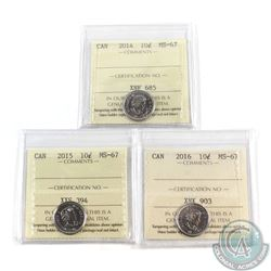 10-cent 2014, 2015 & 2016 ICCS Certified MS-67. 3pcs