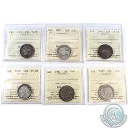 Lot of Canada 25-cent ICCS Certified coins: 1900 VG-8, 1901 G-6, 1903 F-15, 1918 VF-20, 1921 G-6 & 1