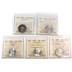 Estate Lot of 1958-1968 Canada 25-cent ICCS Certified MS-64 - 1958, 1962, 1964 Cameo, 1966 & 1968 Si