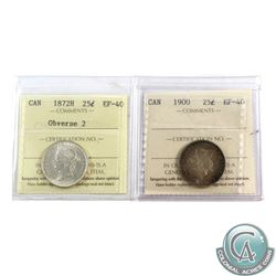 25-cent 1872H Obv. 2, & 1900 both ICCS Certified EF-40. 2pcs