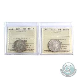 25-cent 1899 & 1900 Both ICCS Certified EF-40. 2pcs