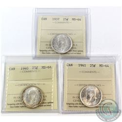 25-cent 1937, 1940 & 1941 ICCS Certified MS-64. 3pcs