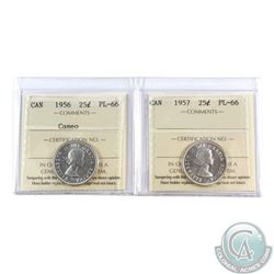 25-cent 1956 Cameo & 1957 ICCS Certified PL-66! 2pcs