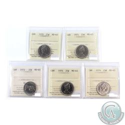 25-cent, 1970, 1971, 1972, 1974 & 1976 ICCS Certified MS-65! 5pcs
