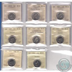 Estate Lot of 2005-2014 Canada 25-cent ICCS Certified - 2005P MS-64, 2007 Alpine Skiing MS-66, 2007