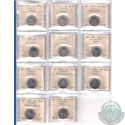 Estate Lot of 2005-2008 Canada 25-cent ICCS Certified MS-65 Except For One - 2005P Veterans, 2005P A