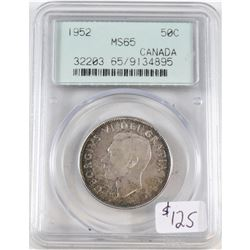 1952 Canada 50-cent PCGS Certified MS-65