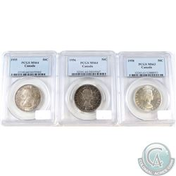 3x Canada 50-cent PCGS Certified coins: 1955 MS-64, 1956 MS-64 & 1958 MS-63. 3pcs
