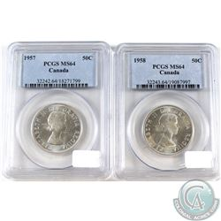 1957 & 1958 Canada 50-cent PCGS Certified MS-64. 2pcs