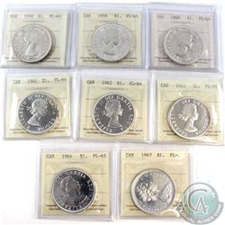 Lot of ICCS Certified Canada Silver Dollars: 1958 PL-65; Cameo, 1959 PL-65; Cameo, 1960 PL-64, 1961