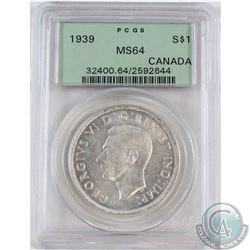 1939 Canada Silver Dollar PCGS Certified MS-64