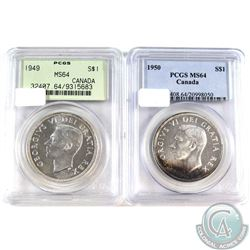 1949 & 1950 Canada Silver Dollars PCGS Certified MS-64. 2pcs