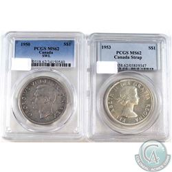 1950 SWL & 1953 SS Canada Silver Dollar PCGS Certified MS-62. 2pcs
