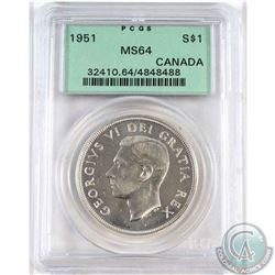 1951 Canada Silver Dollar PCGS Certified MS-64