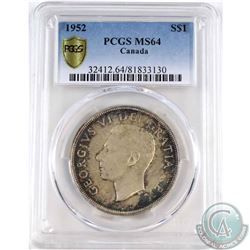 1952 Canada Silver Dollar PCGS Certified MS-64