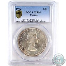 1962 Canada Silver Dollar PCGS Certified MS-64