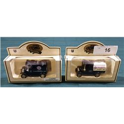 TWO RED CROWN GASOLINE MODEL T FORD DIE CAST TRUCKS