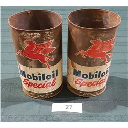 TWO 1950'S MOBIL OIL 1 QUART CANS