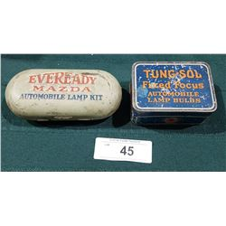 HARD TO FIND 1920'S EVEREADY MAZDA & TUNGSOL AUTOMOBILE LAMP KIT TINS