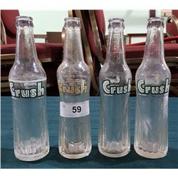 FOUR VINTAGE ORANGE CRUSH POP BOTTLES