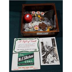 WOOD TRAY OF COLLECTIBLES