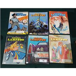 SIX 1971, 1973, 1974 NATIONAL LAMPOON MAGAZINES