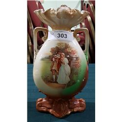 VICOTORIAN PORCELAIN DOUBLE HANDLED VASE