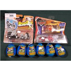 2 DIE CAST VEHICLES IN PACKAGES & 6 HOTWHEELS CANDY EGGS