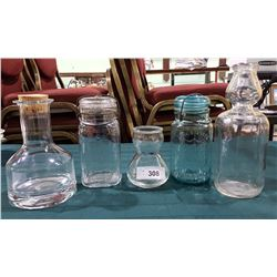 5 VINTAGE BOTTLES AND CANNING JARS