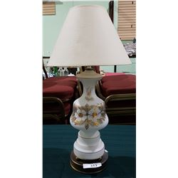 VINTAGE HAND PAINTED SATIN GLASS TABLE LAMP