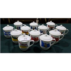 SET OF 12 PROVINCIAL FLAGS MUGS OF CANADA LIDDED MUGS