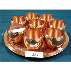 VINTAGE COPPER TRAY WITH NINE CUPS