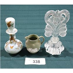2 VINTAGE PERFUME BOTTLES AND MINI WEDGWOOD PITCHER