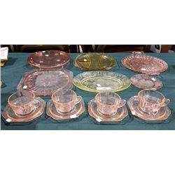 APPROX 14 PCS OF PINK AND AMBER DEPRESSION GLASS