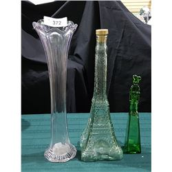 2 FIGURAL GLASS DECANTERS AND AMETHYST GLASS VASE