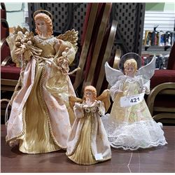 3 CHRISTMAS ANGEL TREE TOPPERS