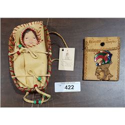 NATIVE MADE BIRCH BARK PAPOOSE CARRIER W/DOLL AND LEATHER WALLET