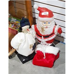 VINTAGE PLASTIC SANTA, SNOWMAN FIGURE, STAR DECORATION AND STOCKING