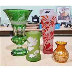 4 VINTAGE AND ANTIQUE ART GLASS VASES