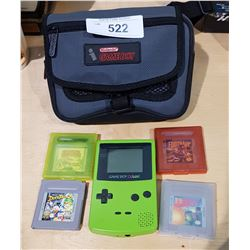 NINTENDO COLOUR GAMEBOY W/4 GAMES AND CASE