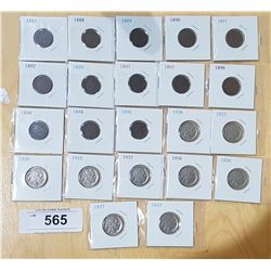LOT OF 22 US INDIAN HEAD PENNIES AND NICKELS