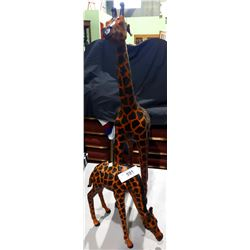 PAIR LEATHER GIRAFFES MOM & BABY