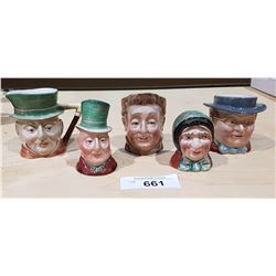 THREE BESWICK CHARACTER JUGS & BESWICK SALT & PEPPER SHAKERS