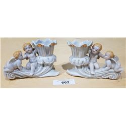 PAIR VINTAGE JAPANESE PORCELAIN FIGURAL CANDLE HOLDERS