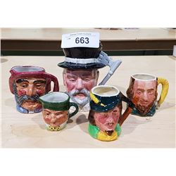 FIVE VINTAGE ENGLISH PORCELAIN CHARACTER MUGS